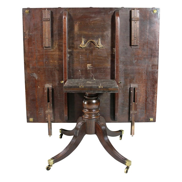 Regency Mahogany Three Pedestal Dining Table For Sale - Image 4 of 13