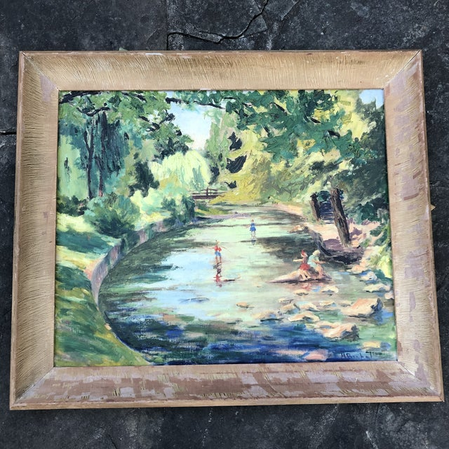 1980s M.Bickel Children Playing in Stream Landscape Painting For Sale - Image 13 of 13