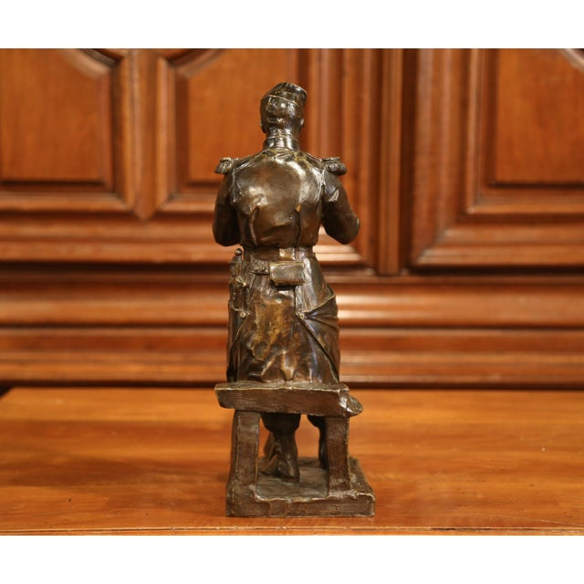 """Gold 19th Century French Patinated Bronze Sculpture """"La Halte"""" Signed L. Mennessier For Sale - Image 8 of 10"""