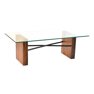 Rotsen Furniture Canela Wood & Glass Top Coffee Table For Sale