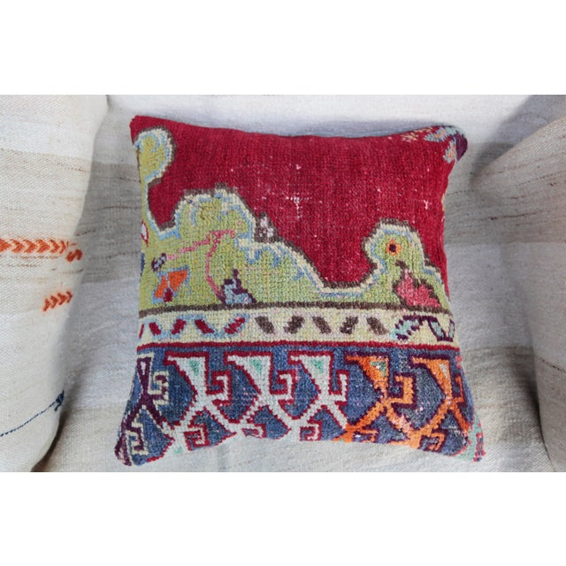 Vintage Turkish Red Kilim Throw Pillow For Sale - Image 4 of 6