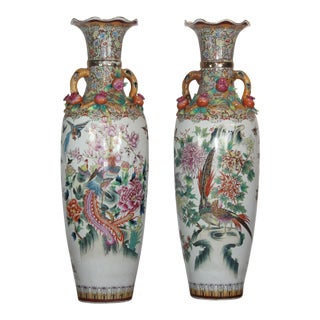 Asian Style Floor Urns - a Pair For Sale