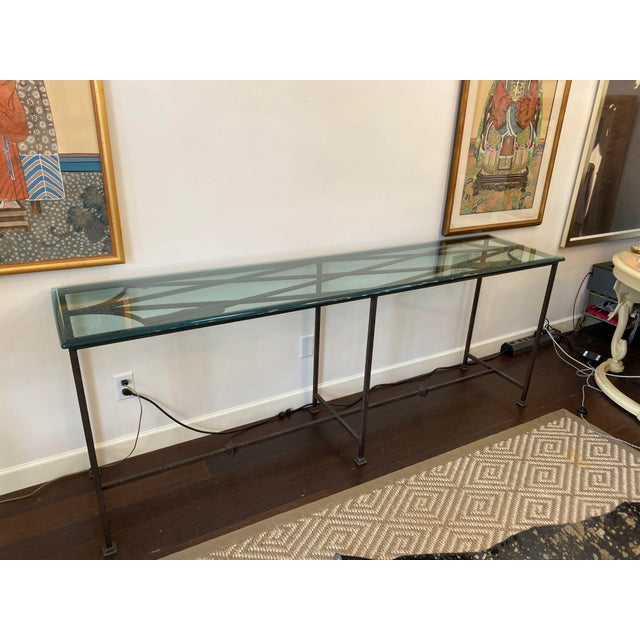 Iron and Glass Arrow Motif Console For Sale - Image 11 of 12