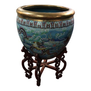 Vintage Republican Chinese Cloisonné Dragons Waves Jardiniere Planter For Sale