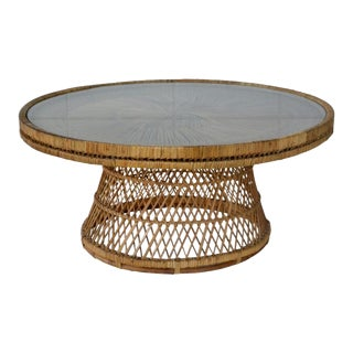 Mid-Century Woven Rattan Coffee Table For Sale
