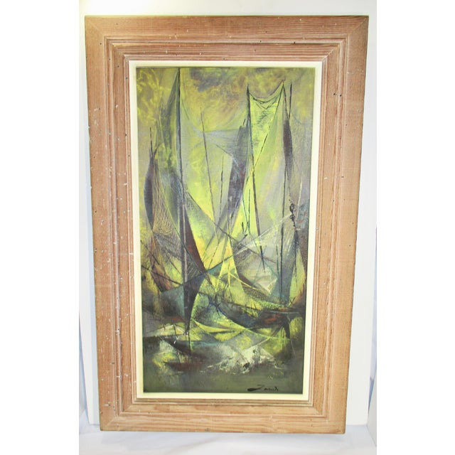 """Mid-Century """"Harbor Scene"""" Oil Painting by Jean-Theobald Jacus For Sale - Image 10 of 10"""