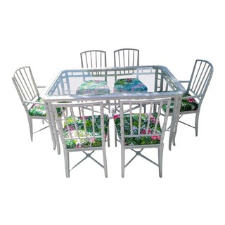 8 Piece Palm Beach Regency White Faux Bamboo Dining Room Set Table 6 Chairs For Sale