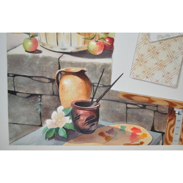 Mid-Century Modern Original Still Life Watercolor For Sale - Image 4 of 8