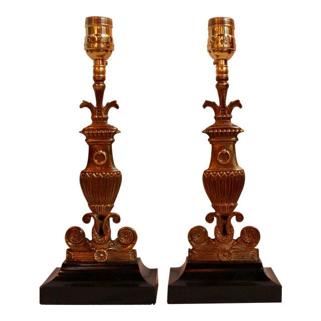 Vintage Bronze & Steel Urn Lamps - Pair - Image 1 of 5