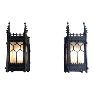 Pair Antique 19th Century Gothic Bronze Lanterns.