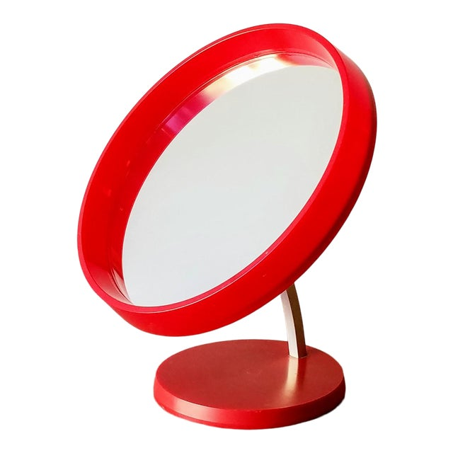 1970s Red Danish Termotex Tilt Table Mirror For Sale