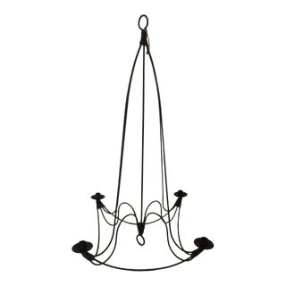 Vintage Provencal Wrought Iron Candle Holder Chandelier For Sale