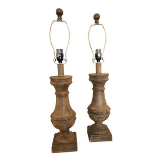 Pair of Plaster Tabletop Lamps in Faux Bois Finish For Sale