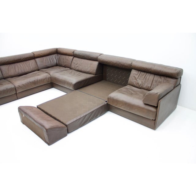 Large Modular Leather Sofa in Dark Brown Leather by De Sede, Switzerland, 1970s For Sale - Image 6 of 11