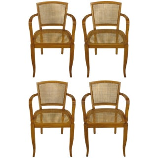 Four Classic Cherrywood and Cane Armchairs in the Style of Baker For Sale
