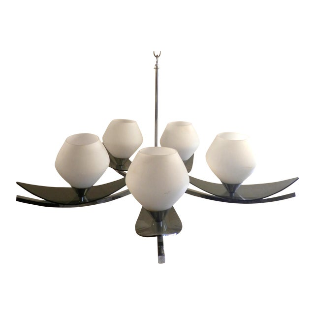 Mid-Century 5-Globe Tinted Lucite Chandelier - Image 1 of 6