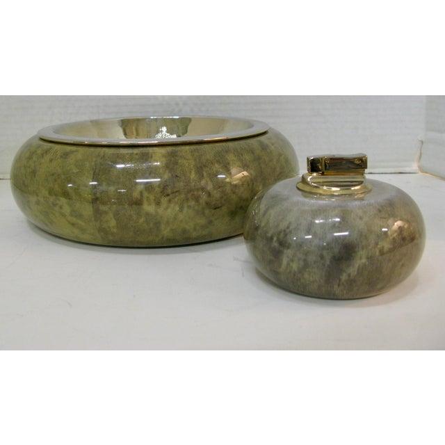 Very Rare Aldo Tura Jade Green Goat Skin & Brass Bowl with Matching Jade Green Goat skin Lighter c.1950. Beautiful shade...