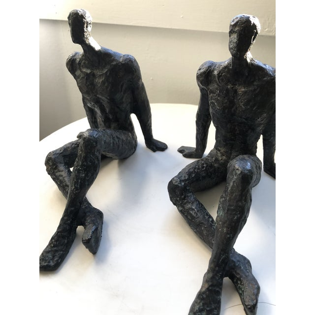 1950s Mid 20th Century Modernist Brutalist Figurative Bronze Sculptures - a Pair For Sale - Image 5 of 7