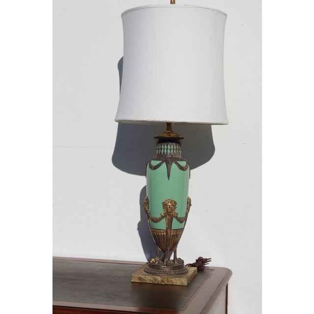 English Mid 19th Century Green English Gilt Bronze Lamp For Sale - Image 3 of 11