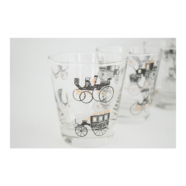 1950s Libbey Curio/Carriage & Buggy Highball & Rocks Glasses - Set of 10 For Sale - Image 5 of 7