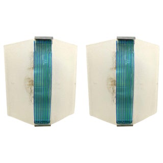 Italian Art Deco Panel Sconces by Venini - a Pair For Sale
