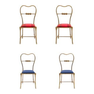 Outdoor French Victorian Brass Side Chairs - Set of 4 For Sale