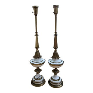 Stiffel Mid-Century Hollywood Regency White & Brass Table Lamps - a Pair For Sale