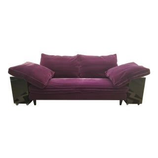 "Eileen Gray Lacquer Plum Wool Mohair ""Lota"" Sofa For Sale"