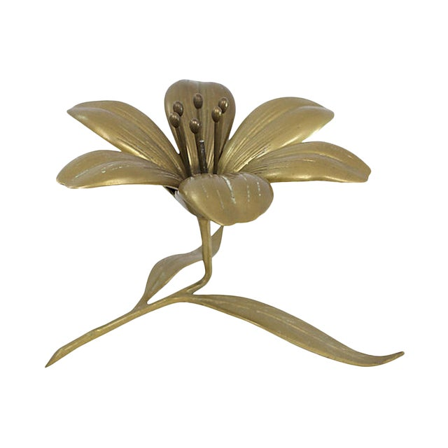 Brass Sculptural Flower Ashtray For Sale