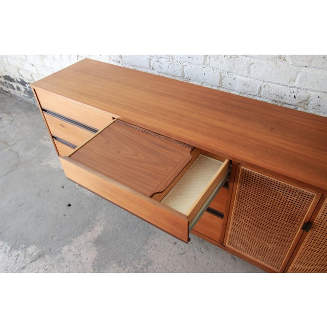 Kipp Stewart for Calvin Mid-Century Modern Walnut and Cane Dresser or Credenza For Sale - Image 10 of 13
