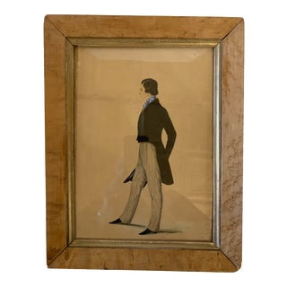 """19th Century """"Portrait of John Clarke"""" Watercolor Painting, Framed For Sale"""