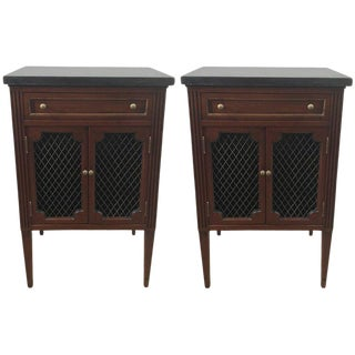 Marble-Top Directoire Brass-Mounted Nightstands - A Pair