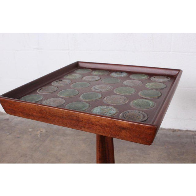 Gold Edward Wormley Dunbar Janus Side Table With Natzler Tiles For Sale - Image 8 of 13