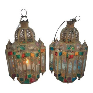 Moorish Multicolored Glass & Brass Lanterns - a Pair For Sale