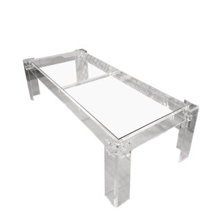 Vintage Rectangular Peg Lucite Coffee Cocktail Table For Sale