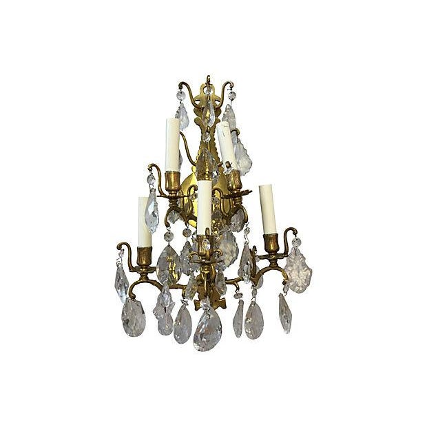 1940s Italian Crystal & Glass Sconces - A Pair For Sale - Image 5 of 8