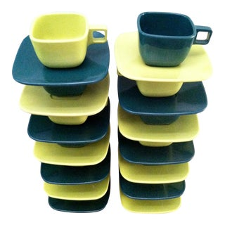 Retro Melamine Cups and Saucers - Set of 14 For Sale