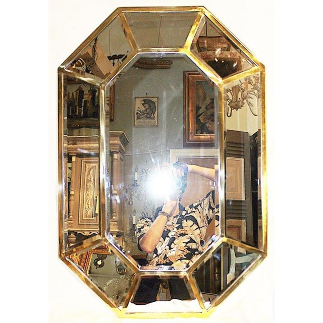 Brass Brass Beveled Mirror-On-Mirror For Sale - Image 7 of 8