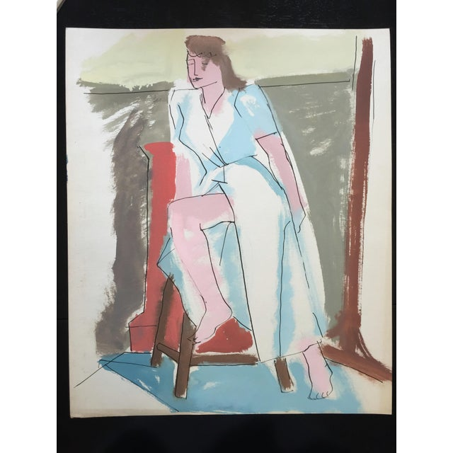 "C 1950s Bay Area Figurative Painting ""Slit"" For Sale In New York - Image 6 of 6"