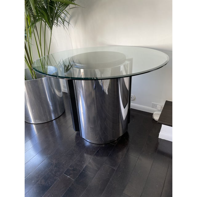Incredible 1980s Pace Collection chrome and granite dining table with a separate glass table top. It also works...