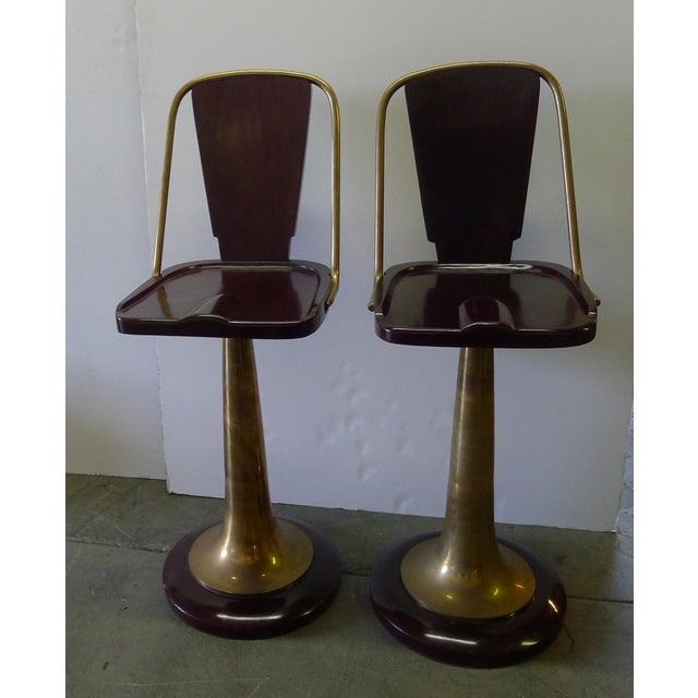 Pair of vintage yacht swivel bar stools. Unlacquered brass, wood, substantially heavy. See all photos, coloration varies...