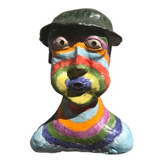Ceramic Multi-Colored Painted Head For Sale
