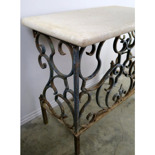 Metal 19th C. French Wrought Iron Console For Sale - Image 7 of 12