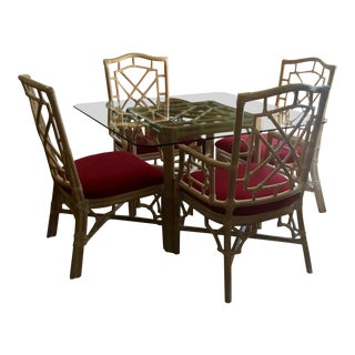 Chinese Chippendale Rattan Table and Chairs For Sale