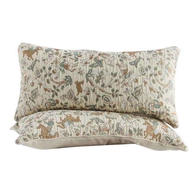 Embroidered Folk Art Lumbar Pillows - a Pair - Image 1 of 2