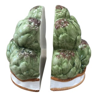 Majolica Style Italian Porcelain Artichoke Bookends - a Pair For Sale