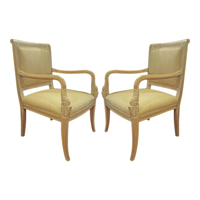 Arm Chairs with Swan Heads - A Pair For Sale