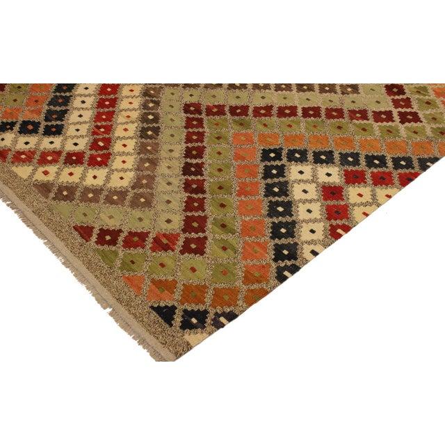 Tribal Abstract Tribal Rolanda Gray/Black Hand-Woven Kilim Wool Rug -5'3 X 6'7 For Sale - Image 3 of 8