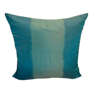 Schumacher Silk Teal Pillow With Knife Edge For Sale
