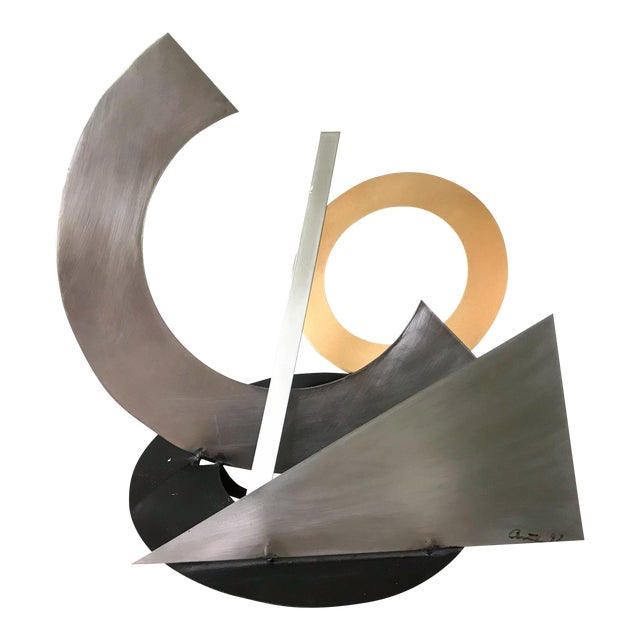Post Modern Abstract Mixed Metal Sculpture For Sale